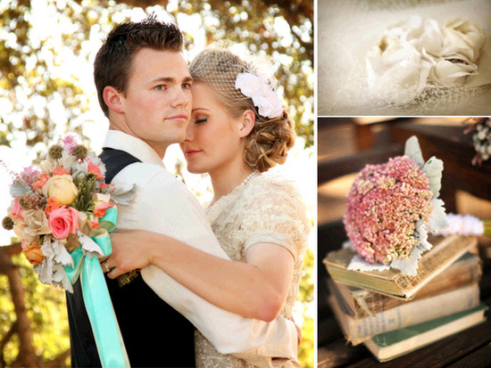 Vintage-chic bride holds he groom, and her stunning vibrant bridal bouquet