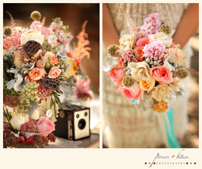 Mock-wedding-orange-county-vintage-vibe-colorful-bridal-bouquet-coral-ivory-pink-turquoise.full