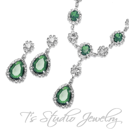 Emerald Green Necklace Earring Set