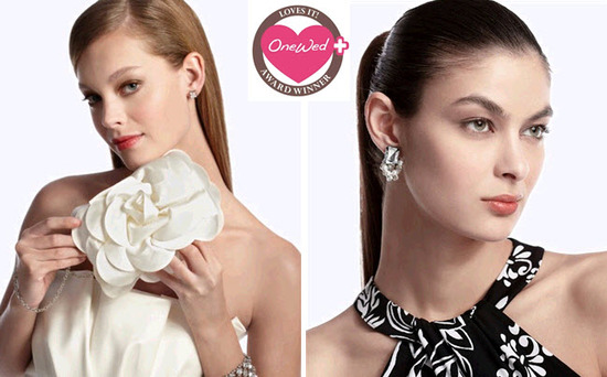 Gorgeous white bridal clutch and bling-worthy earrings from White House Black Market