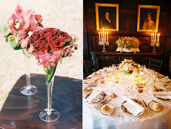 Stunning pink and red fresh flowers arranged in crystal martini glasses