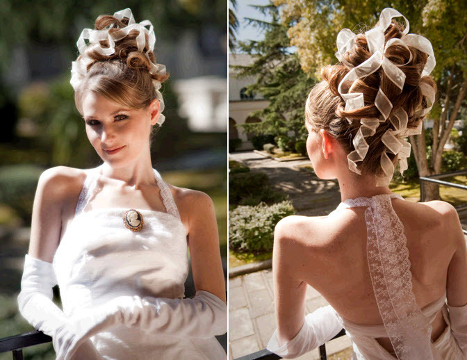 1960s Vogue-esque: Bridal up-do with wired ribbons woven throughout