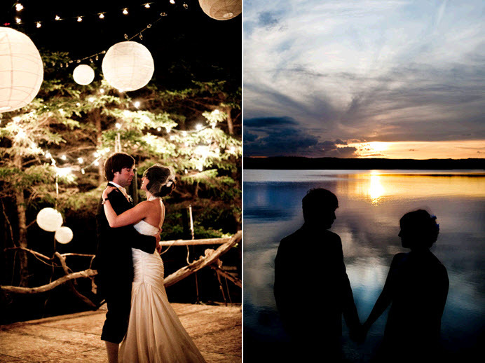 Bride and groom have first dance under Chinese lanterns; gorgeous Newfoundland sunset with silhouett