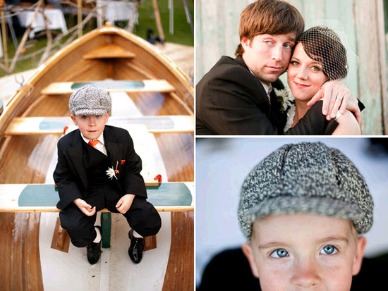 Adorable ring bearer sits on fishing boat; bride and groom pose together