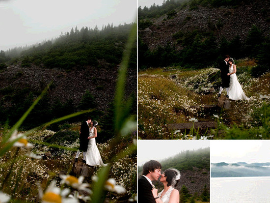 A beautiful misty day is the perfect backdrop for these outdoor wedding photos