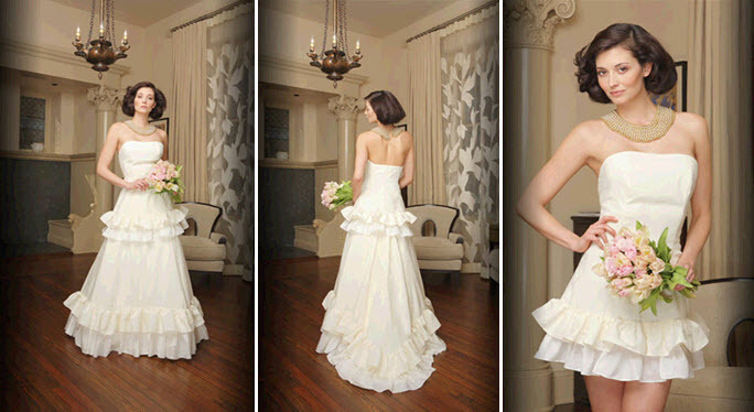 Romantic convertible wedding dress by Morgan Boszilkov with girly ruffles