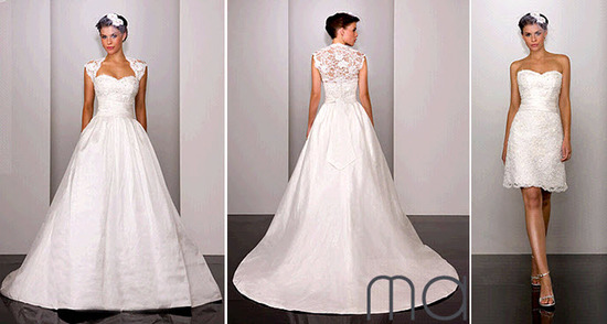 Beautiful white lace Martina Liana wedding dress with detachable skirt, transforms into lace cocktai