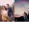 Gorgeous-outdoor-engagement-session-sunset-purple-blue-sky-bride-wears-rose-in-hair.square