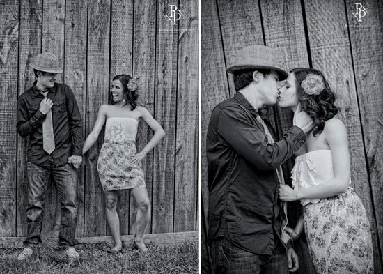 Funky black and white engagement session photos- groom wears hat, bride wears beautiful flower in ha