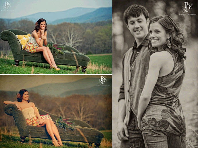 Vintage-inspired-engagement-session-bride-in-cute-anthropology-style-clothes-poses-on-vintage-chaise-lounge.full