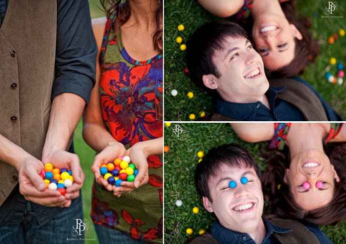 Bride and groom hold colorful gum balls and use as props as they pose for engagement session photos