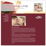 This wedding website from OneWed.com features a maroon color palette.