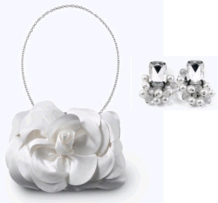 This beautiful white purse and sparkling earrings are part of White House Black Market's Bridal Line