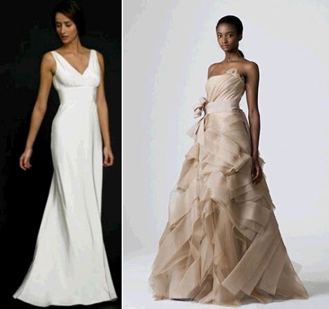 White sheath v-neck wedding dress; Vera Wang taupe ballgown wedding dress