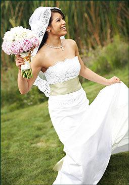 Renting-your-wedding-dress-strapless-lace-white-champagne-cumberbund-sash.full