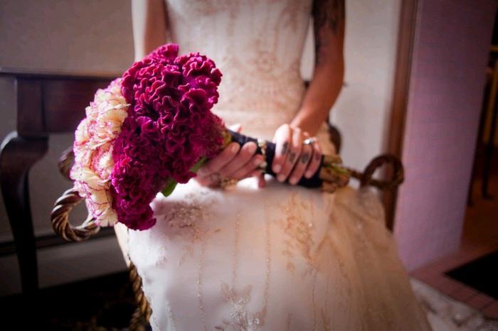 Rockin-edgy-featured-wedding-tattoos-ivory-beaded-wedding-dress-fuchsia-bridal-bouquet.full