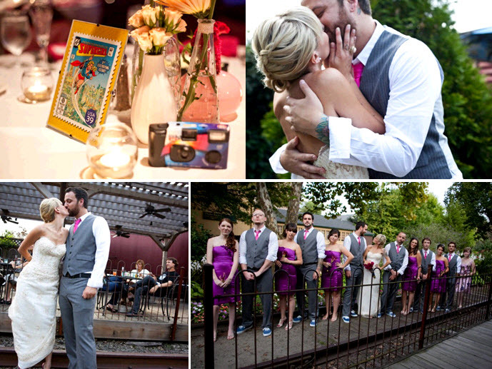 Comic-book-themed-wedding-reception-tables-groom-wears-grey-suit-funky-fuchsia-tie-beautiful-bride-in-ivory-strapless-wedding-dress.full