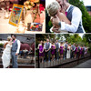 Comic-book-themed-wedding-reception-tables-groom-wears-grey-suit-funky-fuchsia-tie-beautiful-bride-in-ivory-strapless-wedding-dress.square
