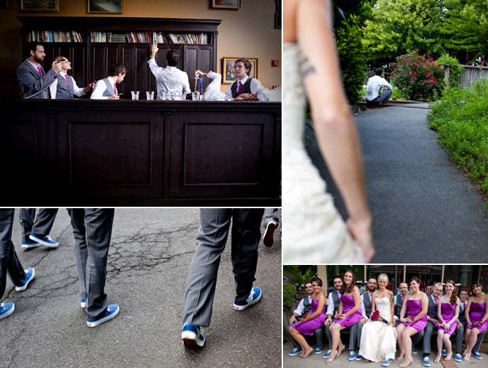 Electric-purple-strapless-bridesmaids-dresses-groom-and-groomsmen-hit-up-the-bar.full