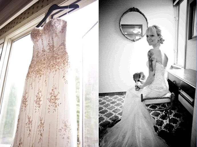 Brides-ivory-beaded-sweetheart-neckline-wedding-dress-hangs-in-window-tattoo-covered-beautiful-bride-poses-with-bridal-bouquet.full