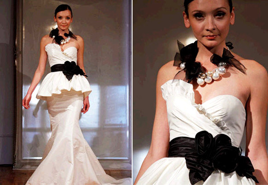 Haute Couture ivory mermaid wedding dress with black sash and necklace
