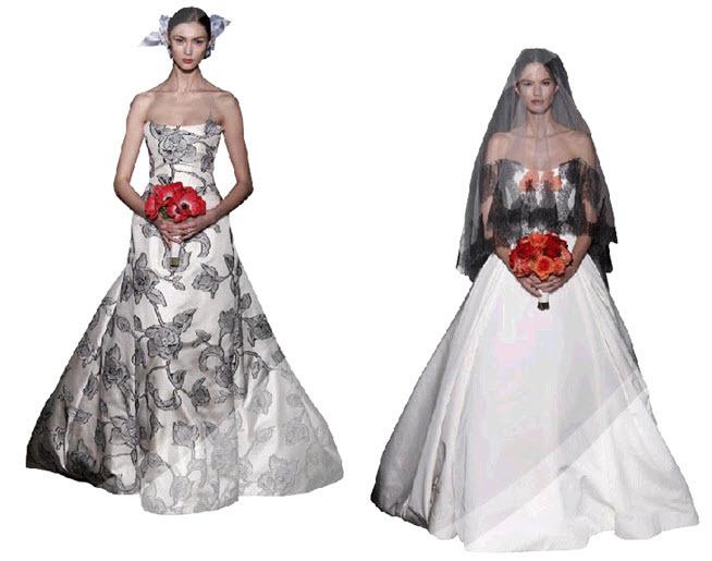 Carolina Herrera Wedding Dress.White Wedding Dress With Black Floral Print By Carolina Herrera