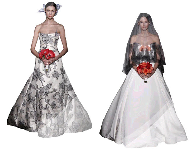 Carolina-herrera-wedding-dresses-inspired-by-famous-artists-black-floral-print-coral-bouquet-bridal.full