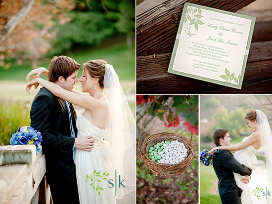 Bride and groom kiss outside after saying I Do; white and sage green square wedding invitations