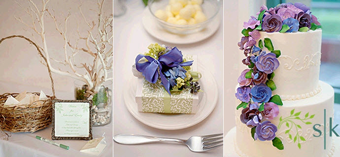 Casual-outdoor-spring-wedding-white-wedding-cake-with-purple-blue-green-icing-flowers-wedding-favors-for-wedding-guests-escort-table.full