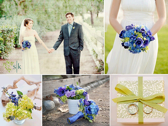 Bride In White Casual Wedding Dress Holds Vibrant Blue Purple Celery Green Bridal Bouquet