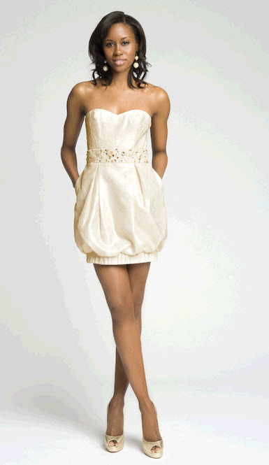 Adorable Lela Rose strapless bubble dress with jeweled detail