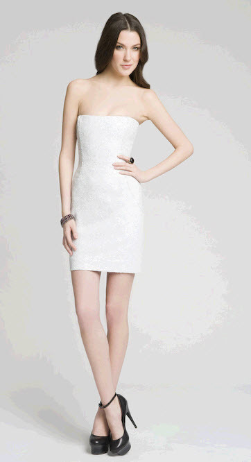 Stunning mini strapless white dress with white sequins