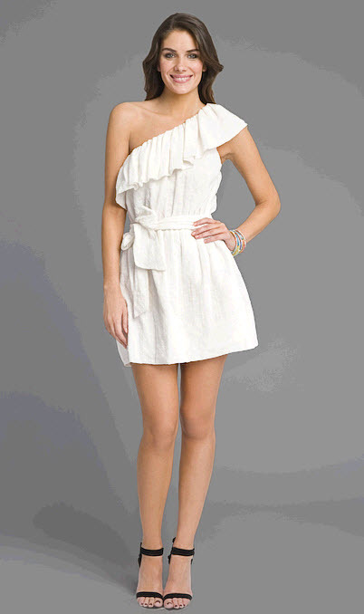 Adorable one-shoulder Rebecca Taylor white mini dress with girly ruffles