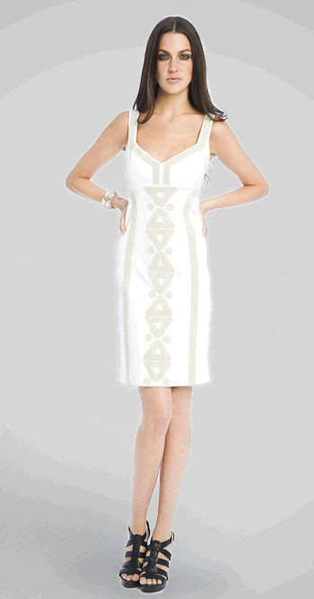 Chic v-neck Diane Von Furstenberg figure flattering white dress