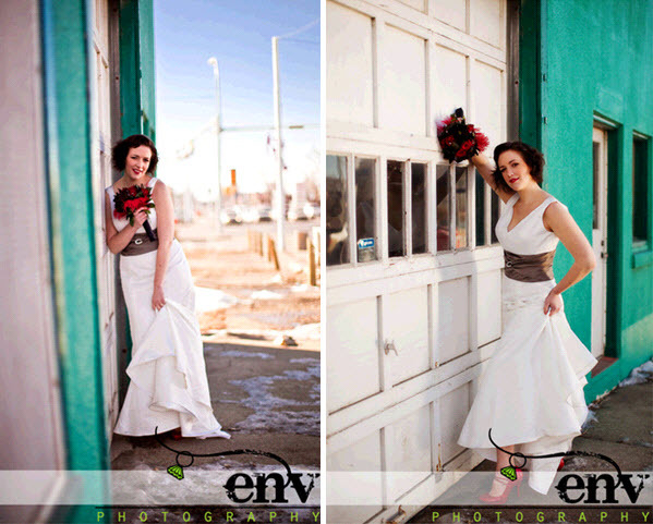 Vintage-retro-bride-rocks-the-wedding-dress-outside-at-beach-pier-red-bridal-heels-bouquet-teal-backdrop.full