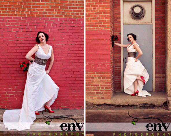 Retro-vintage-rock-the-dress-bridal-shoot-red-bridal-heels-v-neck-white-wedding-dress.full