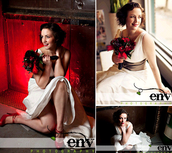 Retro-vintage-chic-bride-poses-with-deep-red-bridal-bouquet-red-bridal-shoes-white-wedding-dress.full