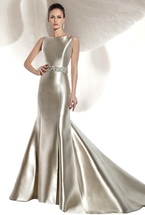 Vintage wedding dress on onewed for Silver satin wedding dress