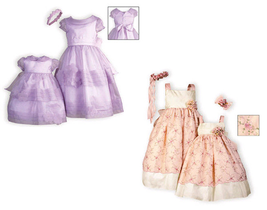 Adorable lilac little girl and flower girl dress for Spring; white, pink and floral design Spring dr