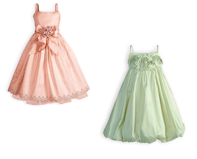 Cotton candy pink and sage green cute flower girl dresses for Little flower girl wedding dresses