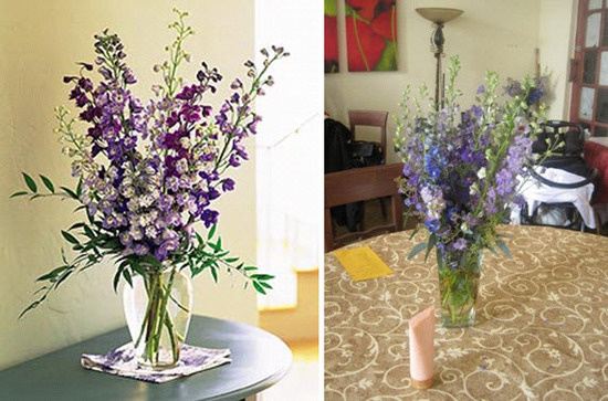 Gorgeous blue and purple Delphinium Dreams floral centerpieces from FlowerPetal