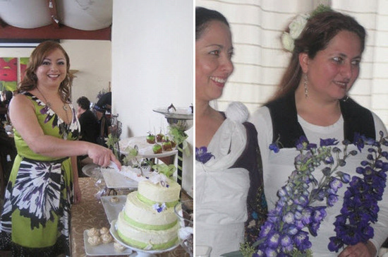Our off-the-chart winner cuts the cake at her bridal shower; bridesmaids hold FlowerPetal floral bou