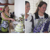 Carla-off-the-chart-winner-at-bridal-shower-cuts-cake-bridesmaids-hold-purple-blue-floral-bouquets.square