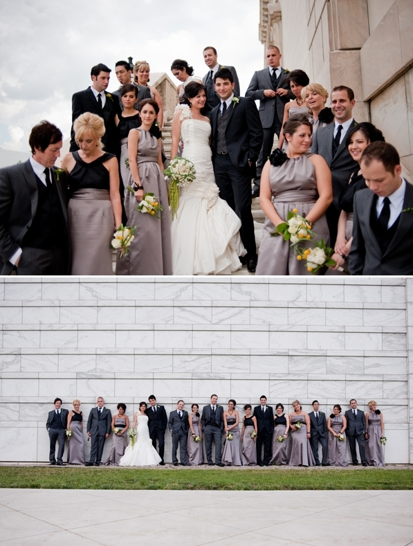 Large bridal party- bridesmaids wear long slate grey bridesmaids dresses, groomsmen wear grey suits