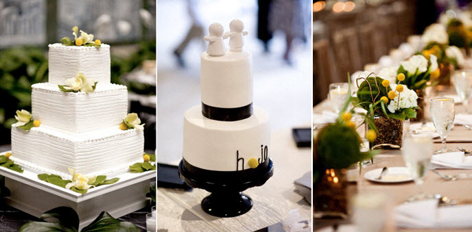 Two-wedding-cakes-wite-modern-square-three-tier-adorned-with-yellow-black-green-details-flowers.full