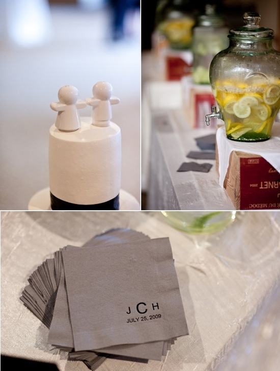 Chic wedding details- adorable white wedding cake topper, slate grey cocktail napkins with black mod
