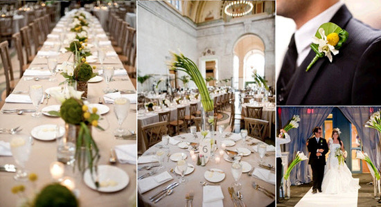 Stunning contemporary wedding reception tablescape with white calla lilies and eco-friendly succulen