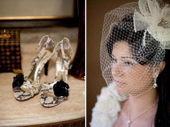 Stylish ivory, gold and black open toe bridal heels with black rosette; bride wears vintage-chic bir