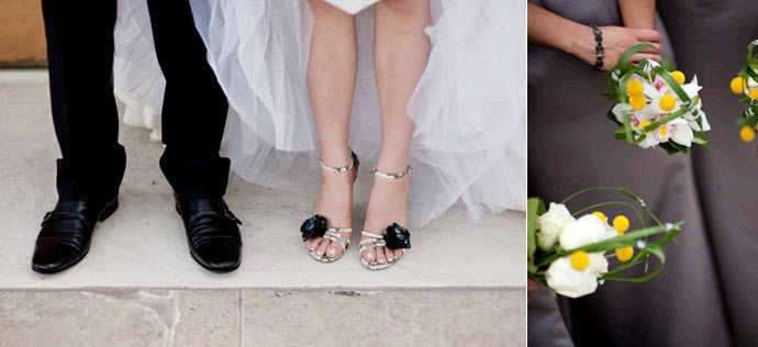 Artistic-wedding-details-warm-slate-grey-bright-yellow-open-toe-bridal-shoes.full