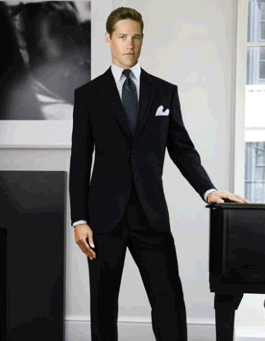 Chic groom's tuxedo- black, two button notch lapel, white shirt and pocket square